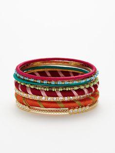 Multicolor Wrapped Thread Bangle Set