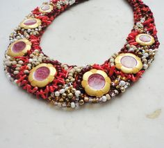 Necklace vintage buttons, crochet necklace, necklace red coral