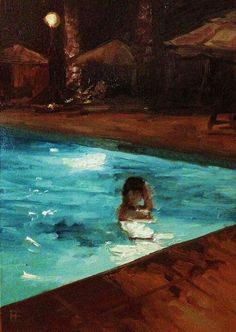 "E. E. Jacks, ""Evening Dip"" - 7x5, oil on Gesso board--at Principle Gallery's Urban Aspect Juried Exhibition"