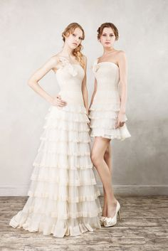 """Short or long vintage lace wedding dress, from Papilio """"Road to Hollywood"""" bridal collection."""