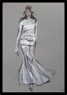 Fashionillustration of a bride in a sparkling weddingdress, painted with black ink and white acryliccolors Wedding Dress Illustrations, Wedding Illustration, Curvy Bride, Acrylic Colors, Metallica, Sparkle, Ink, Wedding Dresses, Unique