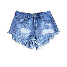 LUCLUC Blue-Black Ripped Rivet Denim Shorts ($28) ❤ liked on Polyvore featuring shorts, pants, lucluc, distressed shorts, ripped jean shorts, ripped shorts, torn jean shorts and destroyed shorts