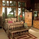"""We carry a full line of """"bark-on"""" hickory log furniture for every room in your rustic home.  Visit our site now to see our selections.  #hickory #log #furniture"""