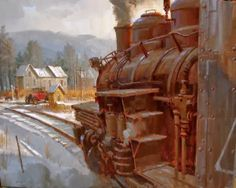 David Tutwiler ~ American Railroad Art/note to self: check out RR Art Train Illustration, Hell On Wheels, Abandoned Train, Train Times, Train Art, Train Pictures, Ho Trains, Historical Art, Traditional Paintings
