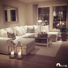 My perfect cosy living room! Someone please buy me a sofa just like this :-)…. My perfect cosy living room! Someone please buy me a sofa just like this :-)…. but maybe in a more grey shade- I cannot be trusted with this much white Romantic Living Room, Cozy Living Rooms, New Living Room, Living Room Sofa, Apartment Living, Home And Living, Small Living, Cozy Apartment, Modern Living