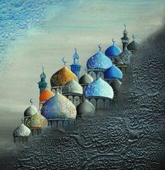 Iraqi artist Ali Hashem الفنان التشكيلي العراقي علي هاشم Motifs Islamiques, Middle Eastern Art, Arabian Art, Islamic Art Pattern, Newspaper Art, Islamic Paintings, Bagdad, Arabic Calligraphy Art, Historical Art