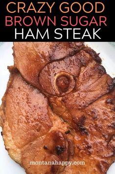 Ham Steak Dinner - This amazing brown sugar glazed ham steak is delicious and easy to make * Ham Recipes * Ham Steak Recipes * Easy Ham Recipes * Ham Recipes for Dinner * Glazed Ham Recipes * Ham Steak Dinner * How to Cook Ham Steak Ham Steak Recipes, Baked Ham Recipes, Easy Ham Recipes, Cream Recipes, Easter Recipes, Pizza Recipes, Yummy Recipes, Yummy Food, Grilled Ham Steaks