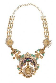 Large ornate pendant necklace decorated with faceted glass crystals, pearls and fine enamelling. Available on tribebyamrapali.com