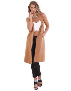 2016 Autumn Women Fashion Jackets Lapel Collar Sleeveless Long Waistcoat Casual Slim Blazer Jacket Coat Outerwear Solid M0535