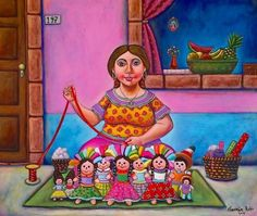 by Gernan Rubio Sierra Mexican Artwork, Mexican Paintings, Mexican Folk Art, Mundo Hippie, Latino Art, Acrylic Painting For Beginners, Mexican Designs, Mexican Artists, Chicano Art