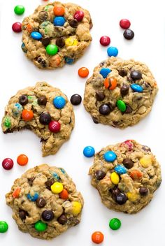 Thick and Chewy Monster M & M Cookies loaded with chocolate chips, M & M's, peanut butter, and oats! They take only 20 minutes to make!