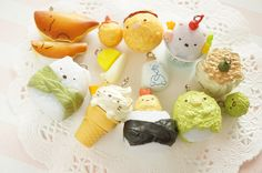 Limited Stock 8pcs  Sumikkogurashi Gotochi Food Mascot Charm (((LAST/no restock))) by Candydecoholic on Etsy