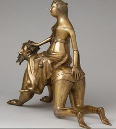 14th-century French bronze aquamanile showing Phyllis riding Aristotle