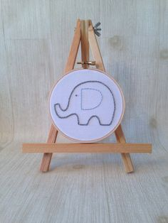 made to order . hand stitched embroidery hoop . elephant . good luck . energy . nursery decor . one of a kind . keepsake . on Etsy, $18.00