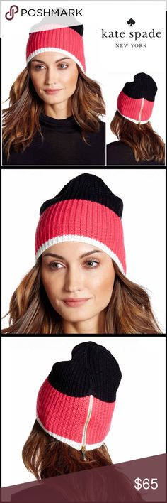 KATE SPADE Zip Up BEANIE Knit Zipper Hat NEW WITH TAGS RETAIL PRICE: $78  KATE SPADE Zip Up BEANIE Knit Zipper Hat  * Super soft rib knit construction   * Color-block pattern      * Stretch-to-fit beanie style, one size fits most   * Cozy & comfortable   * Back zip-up detail     * Well made  Fabric- 100% acrylic Color- Pink Swirl, black, cream  Item#KS SEARCH# non Pom Pom  No Trades ✅ Offers Considered*✅  *Please use the blue 'offer' button to submit an offer kate spade Accessories Hats