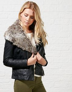 #ARKLOVES sherpa collar jackets - ONLY Lawly Fur Collar Jacket #sherpa #bikerjacket