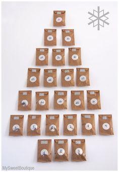 DIY - calendrier de l'Avent kraft & argent, by www.mysweetboutique.fr: