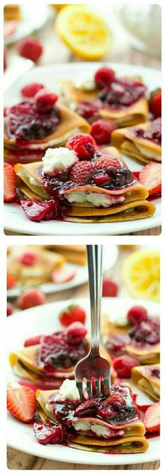 Filled with a tangy lemon cream cheese and topped with an unbelievable triple-berry sauce, these stunning crepes are a dream for any spring brunch! Made 2 cups of crepe batter med sized crepes) Breakfast Dishes, Breakfast Recipes, Mexican Breakfast, Pancake Recipes, Breakfast Sandwiches, Breakfast Pizza, Waffle Recipes, Breakfast Time, Breakfast Ideas