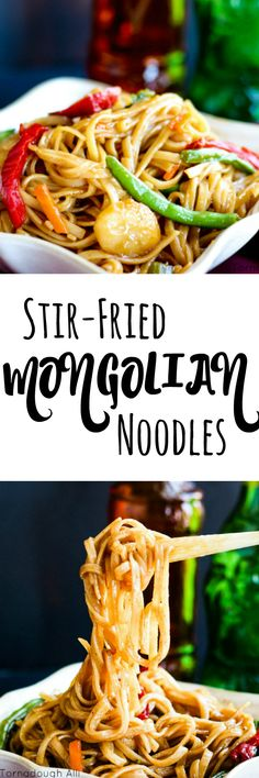 These Stir-Fried Mongolian noodles are so moist and flavorful and full of veggies will be your new favorite homemade take-out inspired dish!