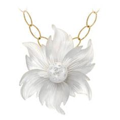 Trusso Carved Rock Crystal South Sea Pearl Diamond Gold Flower Brooch/Pendant | From a unique collection of vintage drop necklaces at https://www.1stdibs.com/jewelry/necklaces/drop-necklaces/