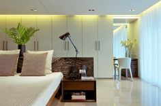 Natural stone as deco in bedroom