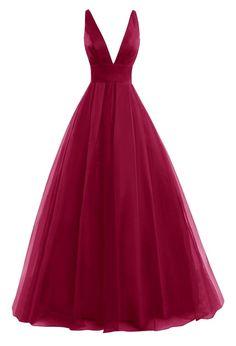 Tulle Low Cut, Open Back Floor Length Dress