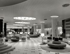 "March 30, 1955. ""Fontainebleau Hotel, Miami Beach. General view of lobby. Morris Lapidus, architect."" Gottscho-Schleisner photo"