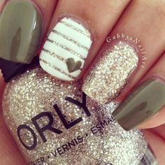 nice Mocha Heart and Gold Pinstripe Nails With Gold Glitter | Cute Nail Art Designs...