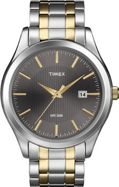 Timex Men's T2N799 Elevated Classics Dress Charcoal Dial Two-Tone Bracelet Watch | Citizen Watches For You And Her