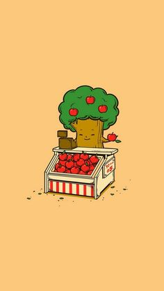 Apple Tree - cute funny iPhone wallpaper mobile9