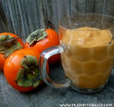 Spiced Persimmon Smoothies at FreshBitesDaily.com.. hmmm, as I was wondering what to do with my persimmons this morning.