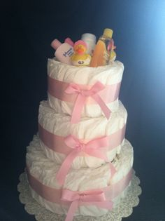 3 tier Diaper cake for baby girl! Great baby shower gift!