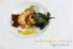meri in cucina: Gamberi sale e pepe, caviale di agrumi e chips di cavolo nero croccanti