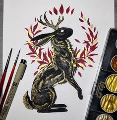 Mythology and Fantasy in Animal Paintings. Click the image, for more art by Jonna Hyttinen. Fantasy Kunst, Fantasy Drawings, Fantasy Art, Animal Paintings, Animal Drawings, Arte Obscura, Viking Art, Viking Woman, Mythical Creatures Art