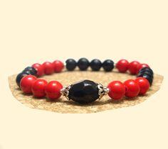 Black Onyx Bracelet, Red Coral Bracelet, 925 Silver Bracelet, Healing, Yoga, Meditation, Mala, Handmade, Natural Stones Bracelet, Gemini,Leo de ArtGemStones en Etsy