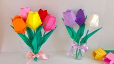 Tul 折 り 紙】 チ ュ ー リ ッ プ Tulipe en origami – Origami Community : Explore the best and the most trending origami Ideas and easy origami Tutorial Paper Flowers Craft, Flower Crafts, Diy Flowers, Paper Crafts, Tulip Origami, Origami Paper, Origami Flowers Tutorial, Flower Tutorial, Origami Simple