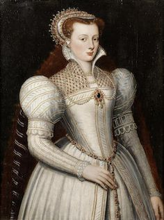 Portrait of lady, half-length, in white bejewelled dress and headdress; circle of Frans Pourbus the Younger, century Renaissance Mode, Renaissance Fashion, Renaissance Clothing, 16th Century Clothing, 16th Century Fashion, Elizabethan Fashion, Elizabethan Era, Elizabeth Bathory, Historical Costume