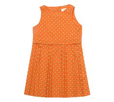 Maan Girls Dress, orange with green dots £28.00 at http://www.emperorsnewclothesshop.com