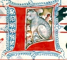Detail of a cat in a medieval Book of Hours - Austrian Institute for Culture, Krems, Austria