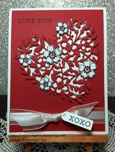 Stampin' Up! Bloomin' Love set, Bloomin' Heart Thinlits dies, Real Red card stock, Whisper White Organza ribbon.