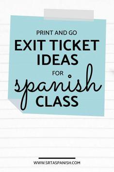 Exit Ticket Ideas for Language Class - SRTA Spanish