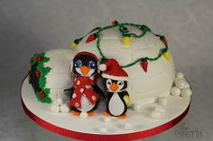 The Penguins and their Christmas Igloo - A cake for My daughter's teacher - by The Cake Tin @ CakesDecor.com - cake decorating website