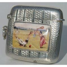 Silver & Enamel Tennis Vesta Case 1906-07