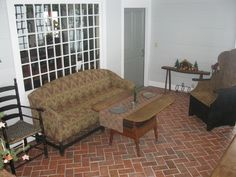 Wright's Ferry brick tiles on family room floor. Marietta color mix.