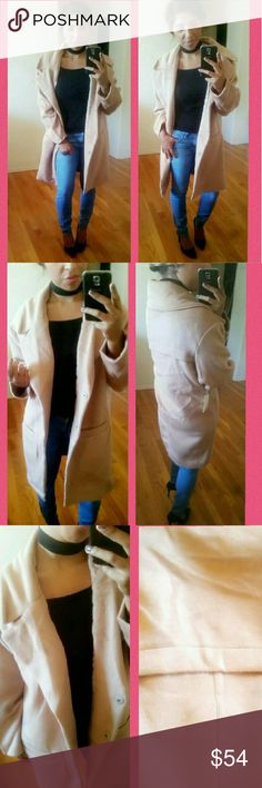 •THE CAMEL TRENCH COAT• This coat is a MUST HAVE this fall. Shades of tan are definitely in this fall/winter so don't miss out on the trend. Beautifully made. Soft material. Snap buttons. Faux pockets and small flap in the back for added style. Relaxed shoulders. I lOVE it. Brand new with tag.   Sizes available : S M L •Modeling Medium•  ●•••Price firm, unless bundled•••●   Jackets & Coats Trench Coats
