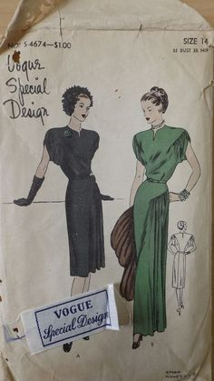 "Vintage, Original ""VOGUE"" PATTERN # 4674 Special Design Size 14 Dress/with Label"
