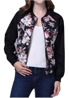Floral Printed Zipper Jacket
