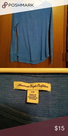 Long sleeve tee This tee is a gorgeous blue that is comfy for a night out or a night in! American Eagle Outfitters Sweaters Crew & Scoop Necks