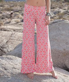 Take a look at this Fuchsia & White Geo Palazzo Pants - Women on zulily today!