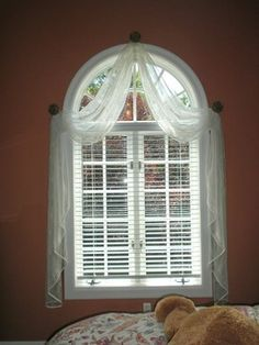 Innovative Half Circle Window Curtains Decor with Best 25 Arched Window Coverings Ideas On Home Decor Arch Window Arched Window Coverings, Curtains For Arched Windows, Modern Window Treatments, Bathroom Window Treatments, Valance Window Treatments, Bathroom Windows, Bay Windows, Arch Windows, Bathroom Blinds